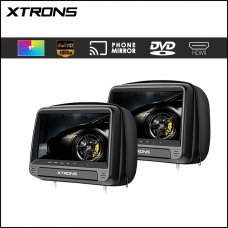 """Xtrons HD923 Black 2 x 9"""" HD Digital Built in Headrest Screens With Leather Cover"""