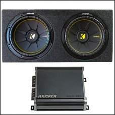 "Kicker 12"" Dual Subwoofer Box With Kicker CXA400.1 Mono Amplifier"