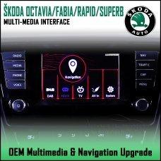 Adaptiv ADV-SK1 Skoda Octavia 2013/ Fabia 2014/ Rapid 2015/ Superb 2015> Factory OEM Multimedia SATNAV/USB/SD/AUX Upgrade